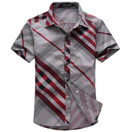 Wholesale 2013man spring new brand camisas striped casual mens shirts short sleeves fashion man plus size XL XL slim fit Men s clothing2014
