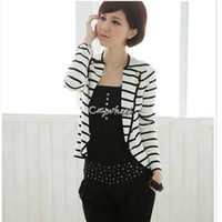 Women Fashion Short Black & White Stripes Lapel Navy Jacket Women One Button Blazer Coat Suit 2014 fashion business suit #10 SV003265