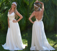 A-Line Reference Images Sweetheart 2014 Boho Chiffon Summer Wedding Dress Embroidered Applique Lace Perfect Beach or Country Bridal Gown V neck Backless