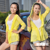 Wholesale Ms candy colored UV sun protection clothing beach clothing summer sun shirt long sleeve hooded cardigan jacket