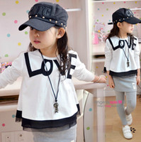 Girl Spring / Autumn Standard 2014 New Arrival Spring Autumn Children's Long Sleeve Letter Top Shirt& Patched Skirt Pant,Can Be Good Matched Outfits,5 Pcs Lot