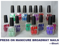 Natural Tips press on nails - MN Freeshipping PRESS ON MANICURE BROADWAY NAILS SHORT COLOR