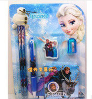 Unisex gift item wholesale - ice colors pad cute cartoon stationery set in1 students gift items The new practical