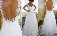 Wholesale 2014 New Custom Made Backless Wedding Dresses Cap Sleeve A Line Applique Sweep Train Scoop Neckline Lace Wedding Gowns