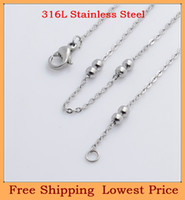 Chains Fashion Necklaces Free Shipping wholesale 3mm Stainless Steel couple ball chain for living glass magnetic floating locket pendants necklace C40