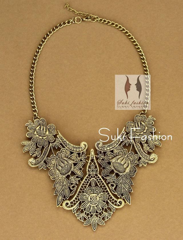 2018 vintage costume metal lace choker necklace women for Art deco costume jewelry