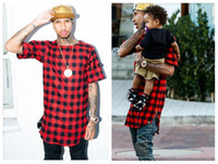 Wholesale Summer Hip Hop Red Plaids cotton flannel t shirts for men Gold Zipper Sides Tees Lengthen Arc Hem Casual plaids Men T Shirts M XL