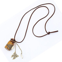 Beaded Necklaces Women's A3052 2PCS Jewelry Wholesale Retro Cork Wishing bottle Sweater Chain Necklace jewelry A3052 Free Shipping