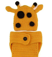 Unisex baby giraffe hat - children caps new Cute baby giraffe style frog shape handmade knitted piece suit hat shorts dandys