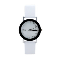auto frames - New Arrival Cool White Black Watch Frame White PU Leather Wristband for Women