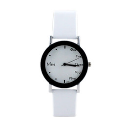 Wholesale New Arrival Cool White Black Watch Frame White PU Leather Wristband for Women