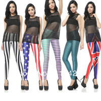 Polyester Mid Casual Fashion Brand Women Fish Scale Mermaid and USA Flag Printed Sexy Leggings With Designs Skinny Tights7 Style