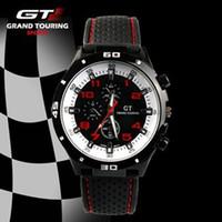 Cheap New 2014 GT Racing Sports Watch, PC Movement Round Dial Clock Men Army Black Silicone Quartz Wrist Watch yoyowatch2013
