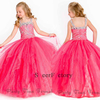 Wholesale 2015 Ritzee girls pageant dresses Organza Sleeveless Beaded Straps Ruffles Layered Rhinestone Flower Girl Ball Gown Pageant Dresses PA1507