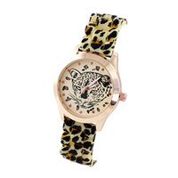 Auto Date www.aliexpress.com - http www aliexpress com item New Colorful PU Watch Band Charm Round Flower Print Dial Face Quartz Wristwatch For Women htm