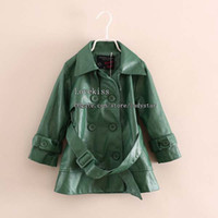 Wholesale Leather Trench Coat Children Outwear Girls Coats Child Clothing Kids Trench Coats Breasted Coat Children Trench Coat Girl Clothes Long Coat