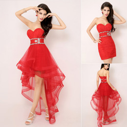 Wholesale 2014 Fall Summer Fashion Removable A Line Red Prom Dresses Two Way Skirt Hi Lo Crystal Tulle Sweetheart Strapless Short Bridal Gowns AJ014