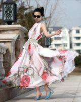 Casual Dresses Casual Multi-Color Elegante Lady Boho Flower Print Lotus Blatt Big Hem Chiffon dress Sommer Maxi Kleid Sexy Dress