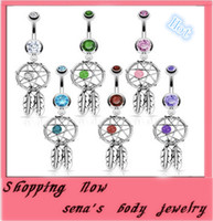 Navel & Bell Button Rings acrylic dreams - Bpdy jewelry CF115 Nickel free Dream Catcher Dangle Belly Rings Crystal Gem Fashion Piercing Jewelry Surgical Steel G mix