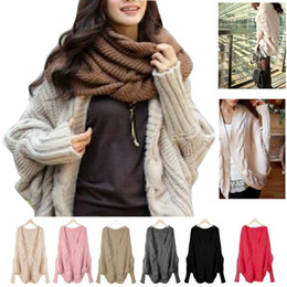 Wholesale Women winter sweater casual full sleeve Knitting sweaters loose wraps batwing cardigans winter shawl new knitwear sweater