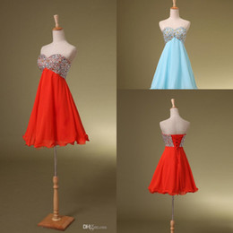 Wholesale Formal In Stock Cheap Under Dresses Red Sky Blue Chiffon Crystals Short Mini Dress Ball Gowns Cocktail Party Sexy Homecoming