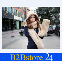 Wholesale Women s Autumn Winter Season Lambs Wool Hat One Three piece Scarf Gloves Scarf Collar Couples