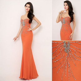 Wholesale 2014 Fall Summer Fashion Cheap Luxury Mermaid Prom Dresses Chiffon Crystal Handmade Beading Sweetheart Strapless Long Bridal Gowns AJ014