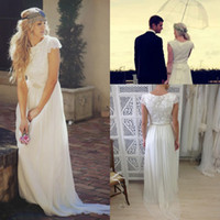 A-Line Reference Images Scoop Modest Bohemian Backless Boho Beach Bridal Dresses Long Short Sleeve Garden Wedding Gowns Cheap 2014 Romantic Ball Dress Sexy Summer Lace