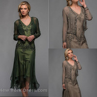 Wholesale Olive green beaded pattern V neck handkerchief women outfit plus size chiffon tea length mother of the bride dresses with jacket