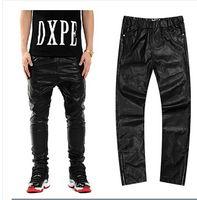 Wholesale 2015 Fashion Pants Men Star Gold Side Zipper Leather Pants Hiphiop Men PU Mens Pants Chirs Brown Kanye West Wiz Khalifa YEEZY tk1146