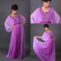 Reference Images Scoop Chiffon 2014 queenwedding Long Sleeves Scoop Neck Beaded Purple Chiffon Arabic Dubai Abaya Kaftan Evening Prom Dresses Long Floor Length