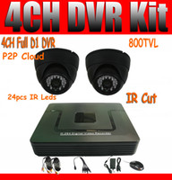 Wholesale 4ch CCTV System CH Full D1 DVR Kit TVL Dome Cameras IR Cut ch Full D1 Real time Recording P2P Easy Visit Mobile Phone amp Network View