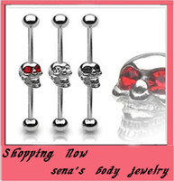 Tongue Rings Stainless Steel Chirstmas Personality skull overstate tongue ring T03 15pcs lot body piercing jewelry tongue barbell