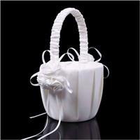 Wholesale Lovely White Wedding Flower Girl Basket Romantic Ceremony Party Love Case Satin