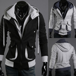 Wholesale 2014 New Arrival Men s Hoodies Double Zipper Long Sleeved Male Hooded Cardigan Sweatshirts Dropship