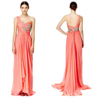 Wholesale Coral Chiffon One Shoulder Prom Dresses with Beaded Applique and Ruched Cross Straps Bodice feature A Pulling Down Sweep Tail from Waist