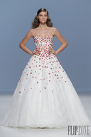 Wholesale 2014 Ball Gown Luxury Ivory Wedding Dresses Sweetheart Hem Lace Appliques Red Flowers Backless Perals Covered Button Sweep Train Custom Made