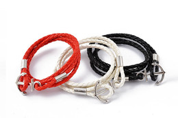 Men Jewellery Men Genuine Leather Bracelets Alloy Silver Anchor Charms Jewelry Handmade Charm Bracelets Red White Brown Black Colors 20pcs