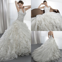 A-Line demetrios wedding dress - 2014 Junoesque A Line Lace Halter Demetrios Wedding Dresses Layered Chapel Train Lace Up Crystal Bridal Gown