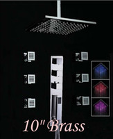 Wholesale Modern quot LED Shower Faucet Massage Jets Sprayer With Hand Shower Thermostatic