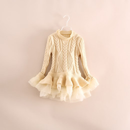 Wholesale 2015 Spring Kids Girls Knit Sweater Dresses Baby girl tulle lace TUTU Winter princess jumper pullover dress