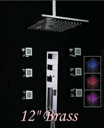 Wholesale New quot LED Color Changing Thermostatic Rain Shower Faucet With Massage Jets