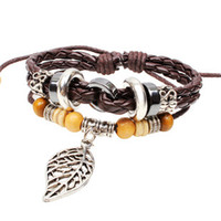 Bangle Women's Fashion Wholesale-MN-New 2014 fashion brand Wooden bead leaf cow leather bracelet for women men jewelry loom bands Vintage bracelets & bangles
