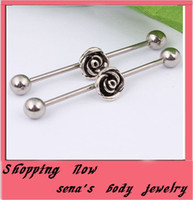 Tongue Rings Stainless Steel Chirstmas Vintage flower tongue jewelry 10pcs lot stainless steel body piercing jewelry tongue ring