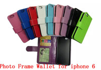 For Apple iPhone Leather  A quality Photo Frame Wallet Credit Card Stand Leather case cover for iphone 4 4s for iphone 5 5s for iphone 6 4.7 inch 300pcs lo