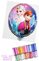 Round balloons free delivery - 9 off in stock Free delivery cm ribbons frozen elsa anna balloon Birthday party decoration Foil round drop shipping GX