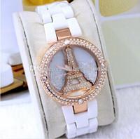 Wholesale Eiffel Tower in Paris fashion ShanZuan ceramic watches fashion women watch White ceramic fashion leisure