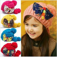 Unisex baby beret - children caps autumn and winter new bow baby girls wool cap beret hat fashion dandys
