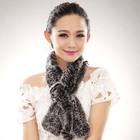 fur flower scarf - Women s Rex Rabbit Fur Scarves Scarf with Flower Multicolor HB13