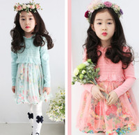 Wholesale 2014 Autumn Sweet Girls Dresses Long Sleeve Flower Lace Tutu Girl s Dressy High Quality Children s Wear Kids Outfit Clothes Pink Green A0010